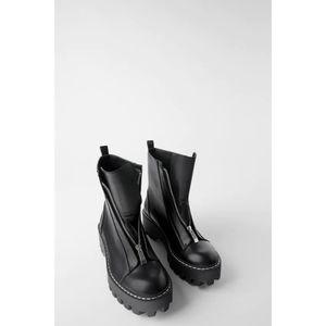Zara Flat Track Sole Topstitch Platform Boots NWT